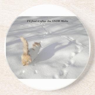 Katze im Schnee Sandstein Untersetzer