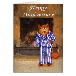 Katze in den Pyjamas, glücklicher Jahrestag Karte