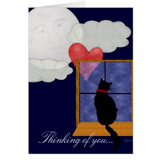 Katze in der Fenster-Karte - denkend an Sie Grußkarte
