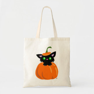 Katze in der Kürbis-Taschen-Tasche Budget Stoffbeutel