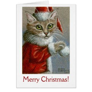 Katze in der Weihnachtsmannmütze, frohe Karte
