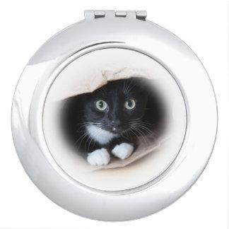 Katze in einer Tasche Schminkspiegel