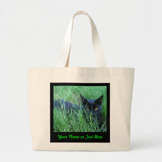 Katze-in-Gras Gewohnheits-Tasche Jumbo Stoffbeutel