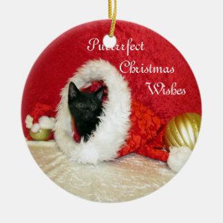 Katze, Kätzchen, Weihnachten, Rettung, Foto Keramik Ornament