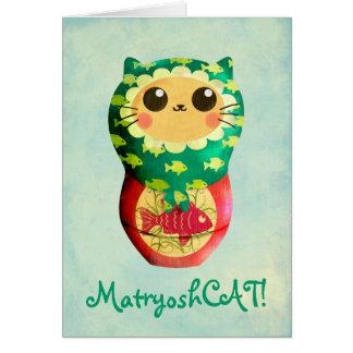 Katze Matryoshka Puppe Grußkarte