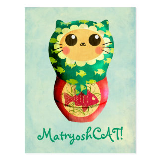 Katze Matryoshka Puppe Postkarte