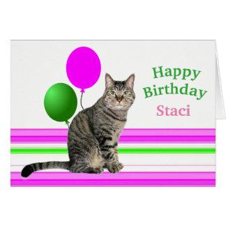 Katze mit Ballon-Geburtstags-Karte für Kinder Karte