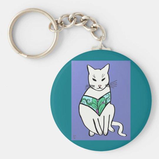 Katze mit Blatt-Entwurf Standard Runder Schlüsselanhänger