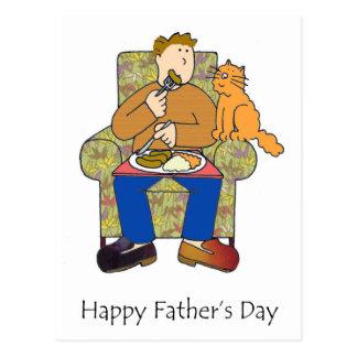 Katze nach Nahrung, der glückliche Vatertag Postkarte