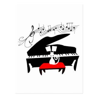 Katze u. Klavier Postkarte