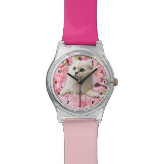 Katze und Blumen Uhr
