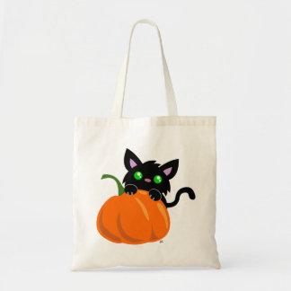Katze und eine Kürbis-Taschen-Tasche Budget Stoffbeutel