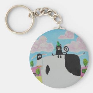 Katze und Frosch auf einer Kuh, die Kunst Gordons Schlüsselanhänger