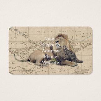 Katze und Löwe - Afrika-Karte - felines Visitenkarte