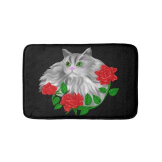 Katze und Rosen Badematte