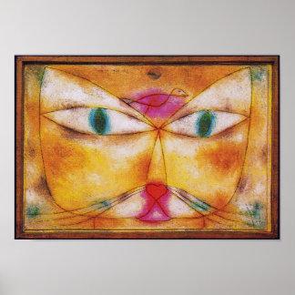Katze und Vogel - abstrakter Kunst-Plakat-Druck Poster