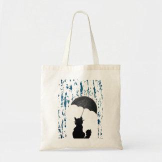 Katze unter Regenschirm Tragetasche