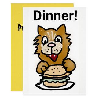 Katzen-Abendessen-Einladungs-Cartoonkarte Karte