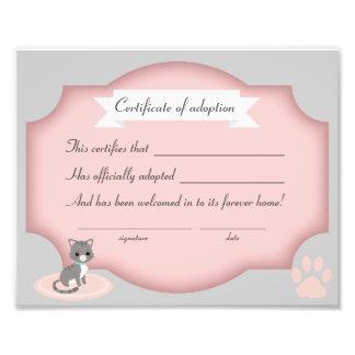 Katzen-Adoptions-Party-Bescheinigungspapier Fotodruck