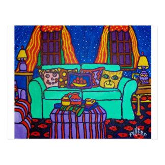 Katzen auf einer Couch durch Piliero Postkarte