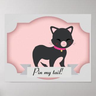 Katzen-Button das Schwanzplakat Poster