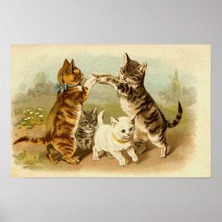 Katzen, die Vintage Illustration spielen Poster