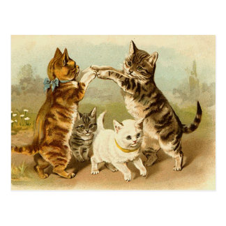 Katzen, die Vintage Illustration spielen Postkarte