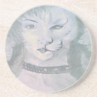 Katzen-Frau Sandstein Untersetzer