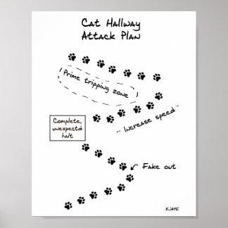 Katzen-Hallen-Angriffs-Plan Poster