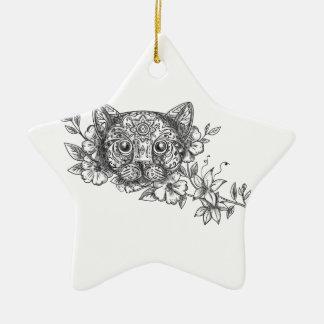 Katzen-Hauptjasmin-Blumen-Tätowierung Keramik Ornament
