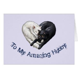 Katzen-Herz-Ehemann-Geburtstags-Karte Grußkarte