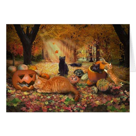 Katzen im Herbst Grußkarte