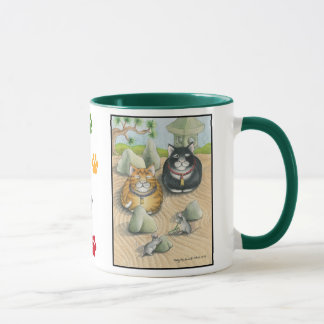 Katzen Knospe u. Tony-Meditations-Tassen-Grün Tasse