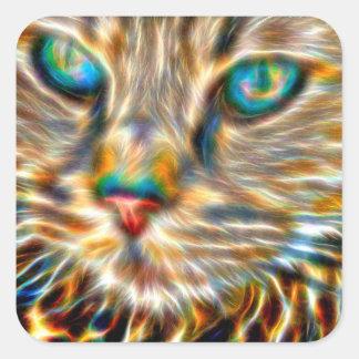 Katzen-Kunst-Quadrat-Aufkleber - glatt Quadratischer Aufkleber