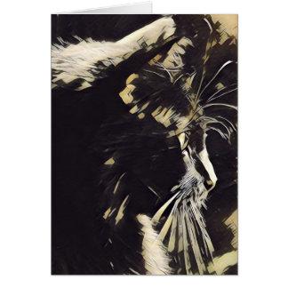 Katzen-Kunstanmerkungen, Profil der schwarzen Grußkarte