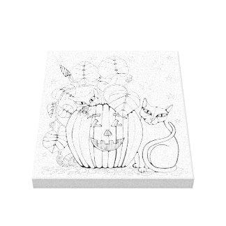 Katzen-Kürbis-Szenen-Linie Kunst-Entwurf Leinwanddruck