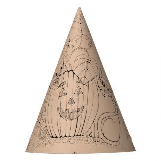 Katzen-Kürbis-Szenen-Linie Kunst-Entwurf Partyhütchen
