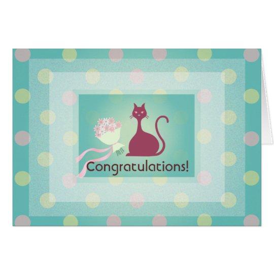 Katzen-Liebe-Blumen-Glückwunsch-Gruß-Karte Grußkarte