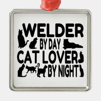 Katzen-Liebhaber-Schweißer Quadratisches Silberfarbenes Ornament