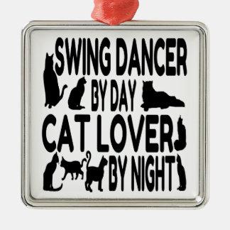 Katzen-Liebhaber-Schwingen-Tänzer Quadratisches Silberfarbenes Ornament