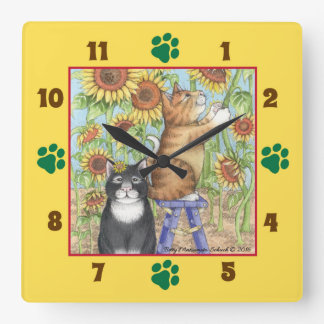 Katzen mit Sonnenblume-quadratischer Wanduhr