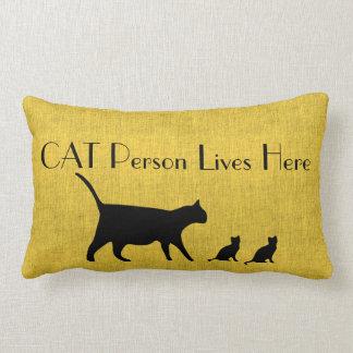 Katzen-Personen-gelbes und schwarzes lumbales Lendenkissen