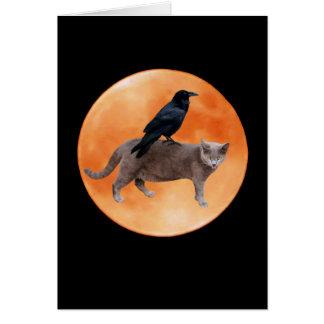 Katzen-Raben-Mond-Karte Karte