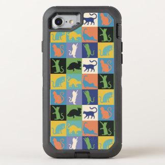 Katzen-Silhouette-Steppdecken-Quadrate in den OtterBox Defender iPhone 7 Hülle