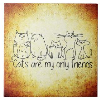 Katzen sind meine nur Freunde Große Quadratische Fliese
