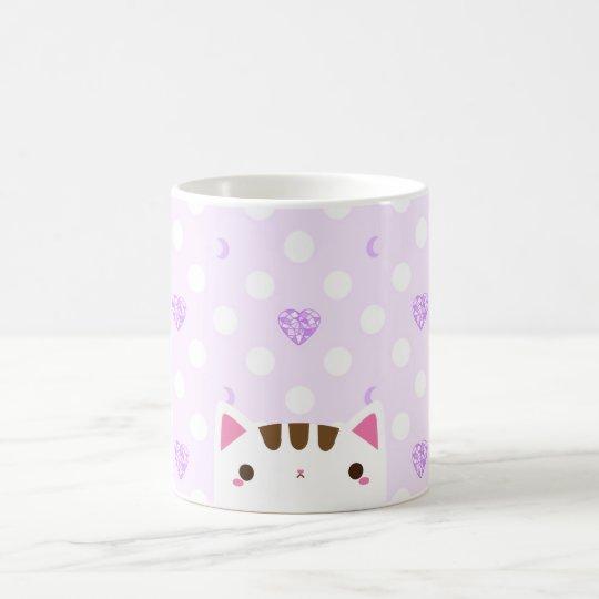 Katzen-Tasse mit lila Herzen und Monden Kaffeetasse