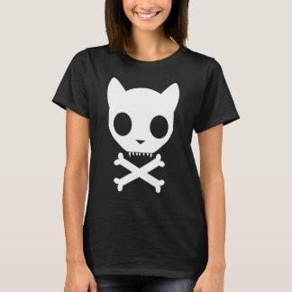 Katzen-Totenkopf mit gekreuzter Knochen T-Shirt