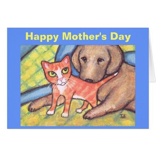 Katzen-u. -hundegruß-Karte der Mutter Tages Karte