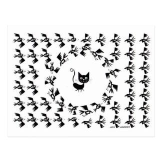 Katzen-u. Vogel-Kreis Postkarte