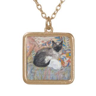 Katzen-und Kätzchen-Skizze Vergoldete Kette